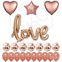 Real Rose Gold Love Balloons Confetti Kit - Rose Gold Confetti Balloons - Rose Gold Foil Heart Balloons - Rose Gold Party Decorations - Wedding, Bridal Shower Decorations, Love Ballon Kit - Pack of 21