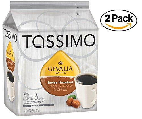 Tassimo GEVALIA Swiss Hazelnut Coffee, Medium, 16 Count T-Discs (Pack of 2) (16 Tassimo T-discs)