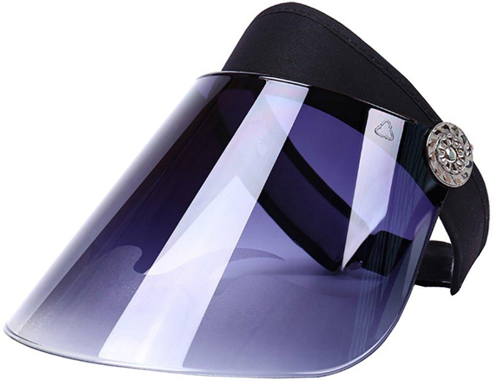 Ababalaya Unisex 360°Rotatable PVC Wide Brim Transparent Visor Sun Hat SPF 50+ UV Protection,Black