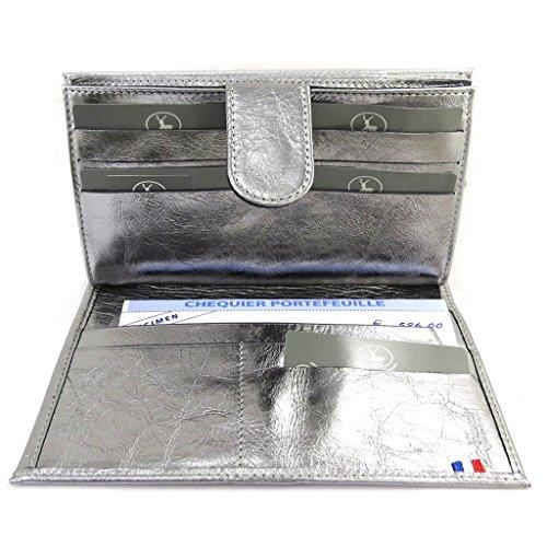 Leather wallet + checkbook holder 'Frandi' gray. by Frandi