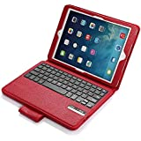 iPad Air / iPad Air 2 Keyboard + Leather Case, Poweradd Removable Bluetooth iPad Keyboard Case + Auto Wake/Sleep Function, Built-in Stand for Apple iPad Air 1/2, iPad 5/6 [Apple iOS 10+ Support] - Red
