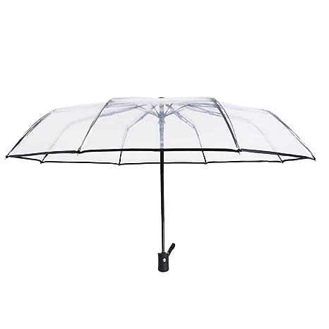 ToxTech Paraguas automático, paraguas transparente mini plegable 8 costillas paraguas de viaje portátil con mango