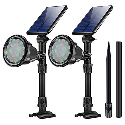 KASUN Outdoor Solar Lights, JSOT 18 LED Spotlight Waterproof Landscape Lights Solar Security Lamps for Garage Deck Garden Wall