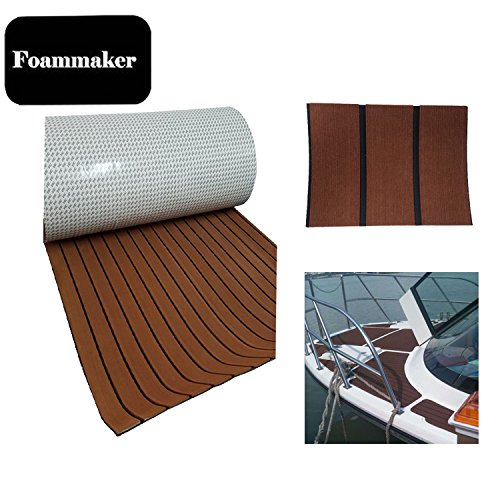 Foammaker High Density EVA Non-Slip Marine Teak Decking Sheet, DIY Flooring for Boat, Yacht (35.4in × 95.4in Dark Brown with Black Lines)