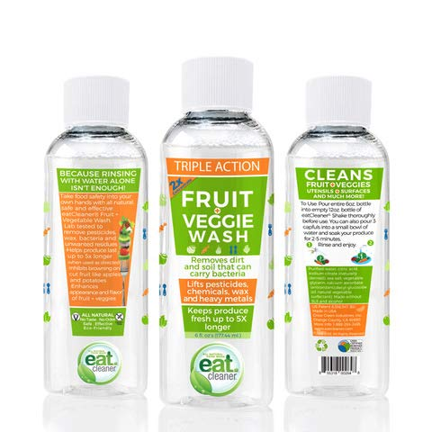 Eat Cleaner Fruit and Veggie Wash 2X Concentrate Refill, Produce Wash, Vegetable Wash, Produce Cleaner, Extends Produce Life Up to 5X, Removes Harmful Residue, Vegan, Non GMO, Makes 3-12 oz. Bottles (Fit Fruit And Vegetable Wash)