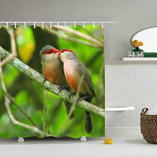 LOVEUIO Animal Finch Birds Red Masked Decor Shower Curtain Set, Bathroom Accessories, 65