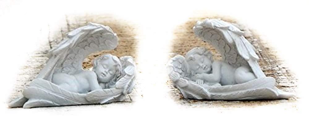Bellaa 26447 Cherub Statue Baby Angel Cupid Loves Child Decor 4 Inch Set of 2