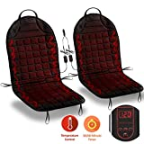 Zone Tech Car Heated Seat Cover Cushion Hot Warmer - Fireproof IMPROVED 2019 Version 2 pack 12V Heating Warmer Pad Cover Perfect Cold Weather Winter Driving