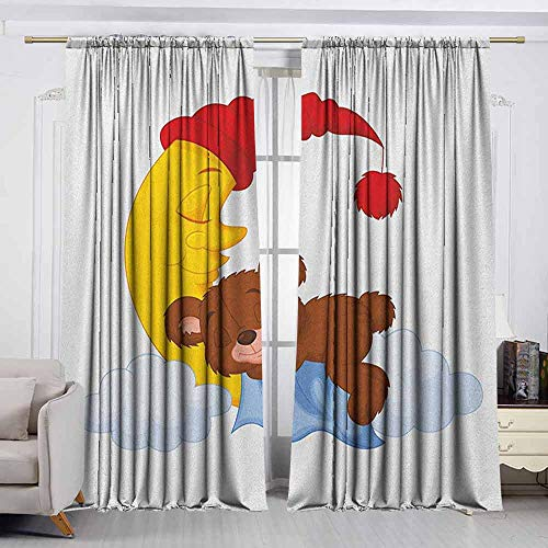 VIVIDX Rod Pocket Curtains,Bear,Adorable Cartoon for Kids Cute Baby Character Falls Asleep on Moon with Hat and Clouds,Room Darkening Thermal,W63x72L Inches Multicolor