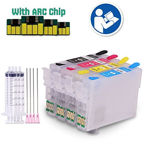 INKUTEN 4 EMPTY Refillable Cartridges for T200 XP-200 WF-2540 XP-300 WF-2530 WF-2520 XP-310 XP-400 XP-410 with Auto Reset Chips (ARC) + syringes