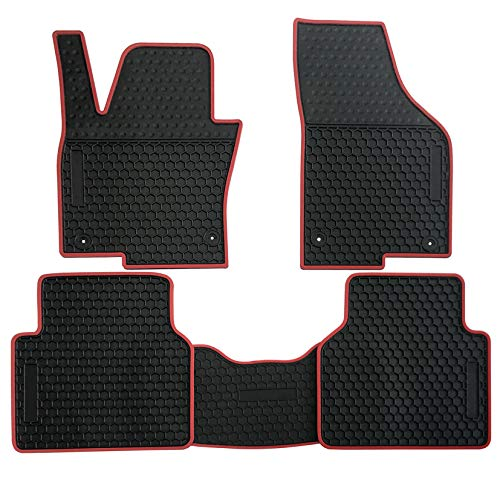 biosp Car Floor Mats for Volkswagen VW Tiguan 2010-2017, 2018 limited Front And Rear Heavy Duty Rubber Liner Set Black Red Vehicle Carpet Custom Fit-All Weather Guard - Vw Carpet Set