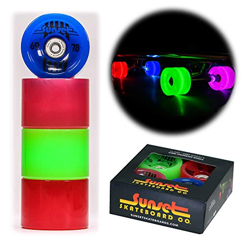 Sunset Skateboard Co. 69mm 78a LED Light-Up Longboard Wheels (4-Pack) with ABEC-7 Carbon Steel Bearings for Glow-in-The-Dark, All Ages & Skill Levels Skating Fun with No Batteries Required (Hippy)