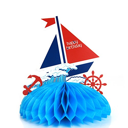 Paper Honeycomb Table Centerpieces Ahoy Boy Nautical Party Supplies Boy Theme Baby Shower Blue 6.7 Inches Height 2 Pieces SUNBEAUTY]()