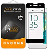 Supershieldz [2-Pack] for Sony Xperia XA Tempered Glass Screen Protector, [Full Screen Coverage] Anti-Scratch, Bubble Free, Lifetime Replacement (Black)