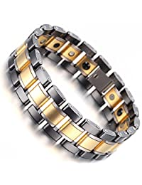 HAMANY Tungsten Magnetic Mens Link Bracelet,Black Gold Silver