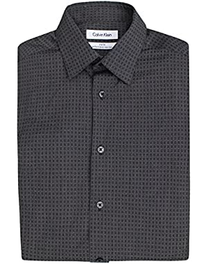 Calvin Klein Men's Slim Fit Stripe Dress Shirt, Stardust Grey(14 32/33)