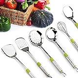Stainless Steel Cooking Utensil,Kitchen Utensils Set of 7,Fried Shovel, Spoon, Colander, Rice Spoon, Drain Shovel, Eggbeater and kitchen rack
