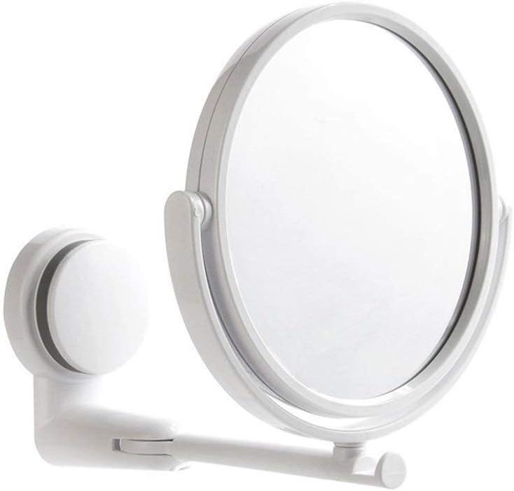 DAMO&GUYAN Espejo de Maquillaje Plegable, Espejo de tocador de Montaje en Pared sin Taladro Baño Giratorio Succión Brazo Plegable Extender Espejo de Afeitar,Espejo de Doble Cara