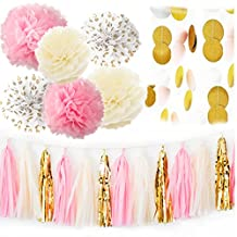 Pink Cream Gold Party Decorations by Petite Fête - Includes Tissue Paper Pom Pom, Tassel Garland, Circle Paper Garland for Baby Shower Decorations, Bridal Shower Decorations, Pink Gold First Birthday