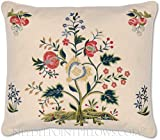 Handmade Decorative Embroidered Floral Exotic Flower Floral Garden French English Country Designer Toss Pillow. 12'' X 16''.