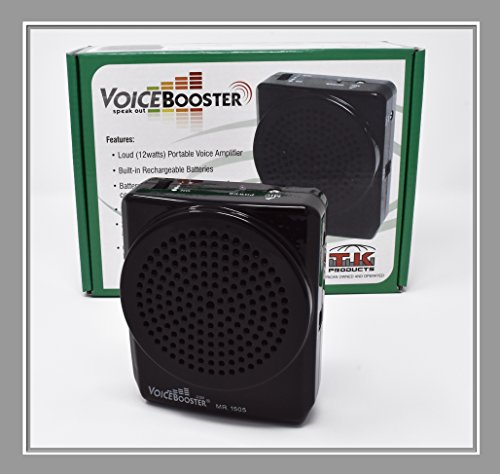 (VoiceBooster Voice Amplifier 12watts Black MR1505 (Aker) by TK Products, Portable, for Teachers, Coaches, Tour Guides, Presentations, Costumes,)