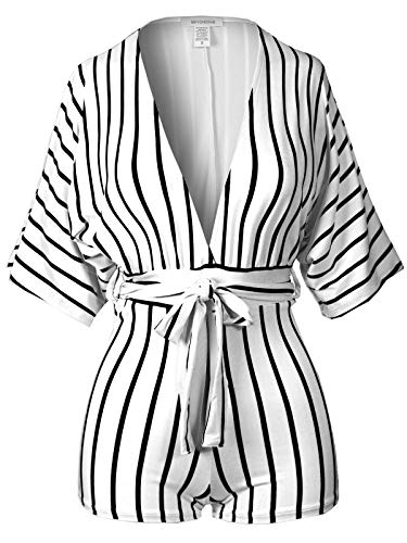 BEYONDFAB Women's Short Sleeve Striped Kimono Romper Jumpsuit with Belt White L