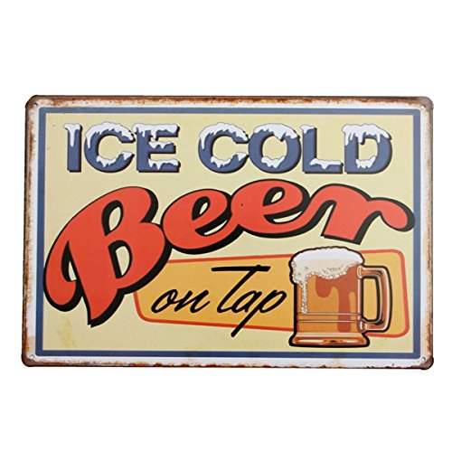 Wall Art - Ice Cold Beer Tin Sign Vintage Metal Plaque Poster Bar Pub Home Wall Decor - Signs Vintage Funny Garage Metal Outdoor Sign Prohibition Poster Beer Cold - For - 1PCs