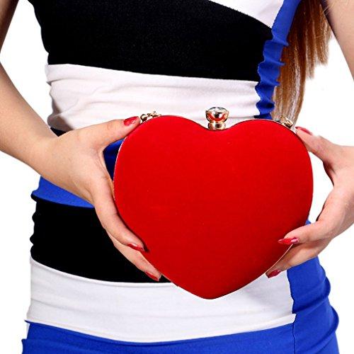 Soirée À De Main Sac Bleu Mariage JAGENIE Sac Mariage Velours De Sac À Chaîne De Bal Femmes De Coeur Rouge Pochette Main ffpYS