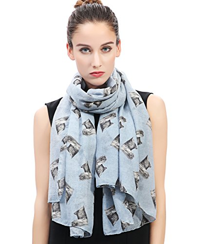 Lina & Lily Yorkshire Terrier Yorkie Dog Print Women's Scarf Lightweight (Light Blue)