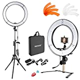 Neewer Desktop and Floor Ring Light Lighting Kit: 18 inches 55W 5500K Dimmable LED Ring Light with Floor Light Stand, Soft Tube, Tabletop Support Stand for Camera, Smartphone Video Make-up Shooting