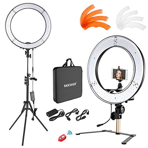 Neewer Desktop and Floor Ring Light Lighting Kit: 18 inches 55W 5500K Dimmable LED Ring Light with Floor Light Stand, Soft Tube, Tabletop Support Stand for Camera, Smartphone Video Make-up Shooting by Neewer (Image #8)