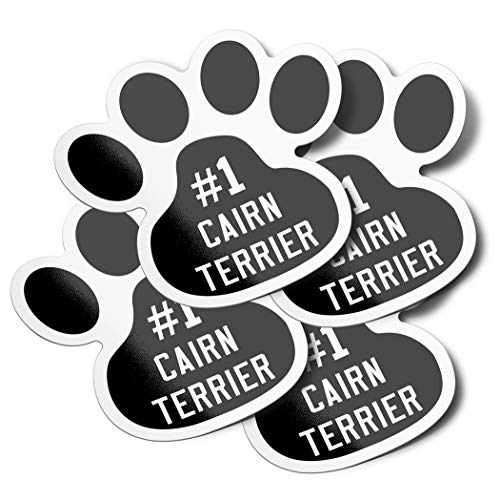 DecalVenue.com #1 Cairn Terrier Dog Paw Print Vinyl Bumper Stickers (4 Pack)
