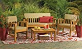 Hardwood Garden Furniture Durable 4-Piece Wood Deep Seating Patio Furniture Set Indoor Outdoor Conversation Chat Set Acacia Wood Tropical Hardwood