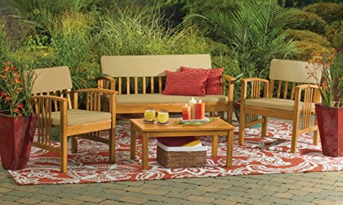 Durable 4-Piece Wood Deep Seating Patio Furniture Set Indoor Outdoor Conversation Chat Set Acacia Wood Tropical Hardwood (Sale Wicker Furniture)