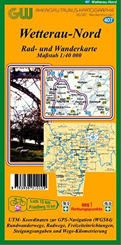 407 Wetterau   Nord  Rad  Wanderkarte Maßstab 1  40 000 Mit Rettungspunkten
