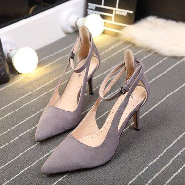 Une Fait Stilettos ZHUDJ Stilettos Fait Chaussures Printemps Boucle Suede gray A wqXfX