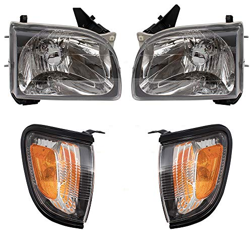 4 Piece Set Headlights w/Park Signal Corner Marker Lamps w/Black Bezels Replacement for 01-04 Toyota Tacoma Pickup Truck