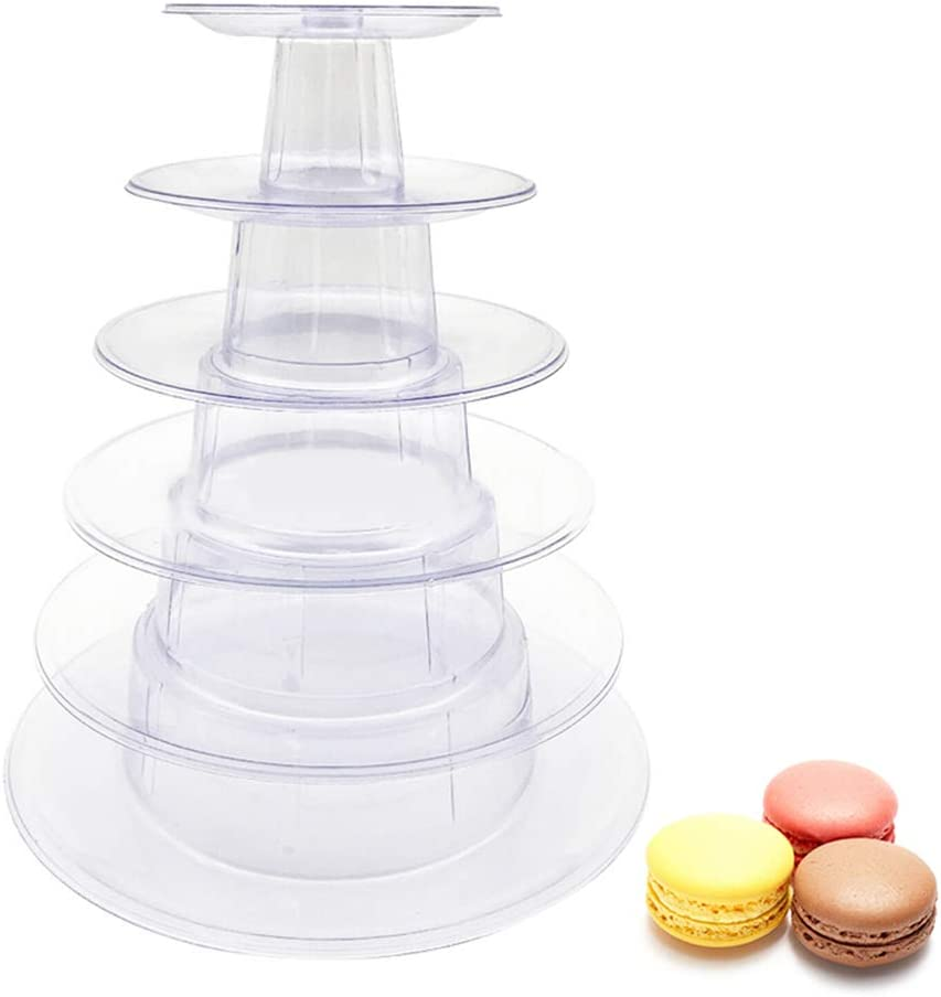 6 Tiers Macaron Tower Display Stand, Round Stackable Cookie Dessert Cake Rack Macaroon Carousel Cupcake Holder for Wedding Birthday Party Bakery Decor