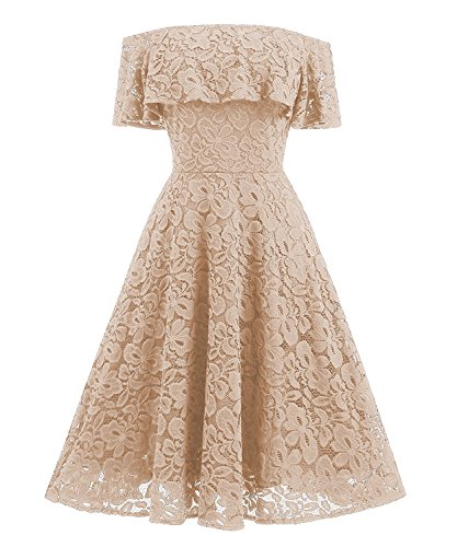 Vestidos Con Péndulo Encaje De Un RONG Hombro Grande De Vestido XIU Apricot qyB0O7