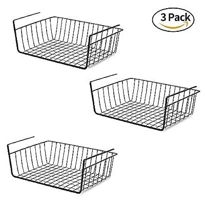 Under Shelf Basket [3 pack], TIANG Anti Rust Under Cabinet Storage Shelf, Hanging Under Shelf Wire Organizer for Kitchen Pantry Closet Desk Bookshelf Cupboard - Black