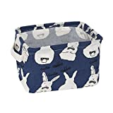 USATDD Small Foldable Organizer Storage Basket with Handle, Canvas Fabric Collapsible and Convenient for Nursery Babies Room 100% COTOON (Blue)