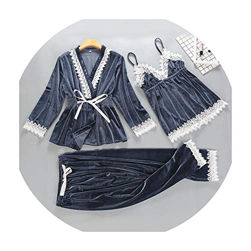 - Spring Velour Womens 3PC Strap Top Pants Suit Sleepwear Casual Home Wear Nightwear Sexy Robe Bath Gown Gray