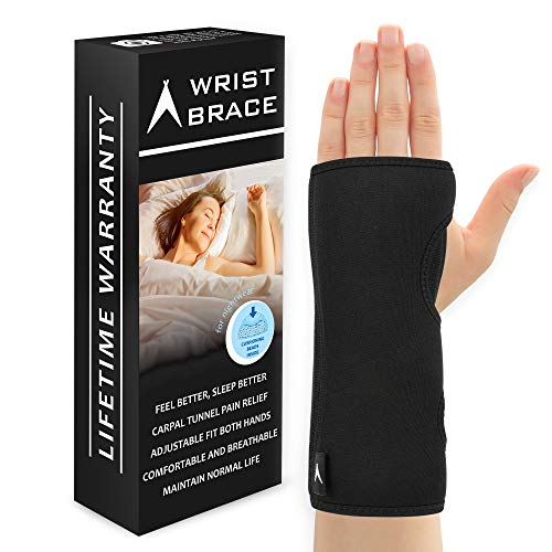 ATX Night Sleep Support Wrist Brace - Carpal Tunnel Relief - Fits Both Left & Right Hand - Removable Metal Splint and Cushioning Beads for Painless Sleep - Men and ()