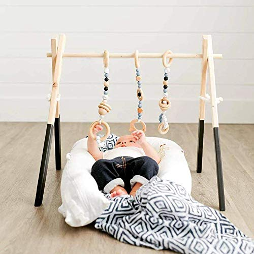 Lu Store Nordic Style Wood Beads Ornament Hanging Kids Toys for Baby Bracelets Decor Wood Room Nursery Tent Hanging Decor Photo Props ()