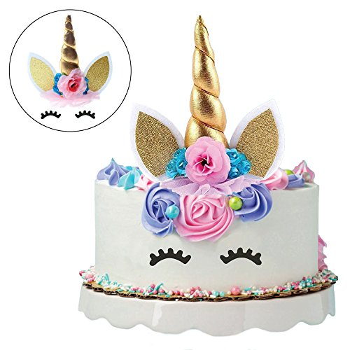 Unicorn Cake Topper set. Handmade with Gold Unicorn Horn, Ears, flowers and Eyelashes. Unicorn Party Decoration for Birthday Party, Baby Shower and Wedding. by Herano