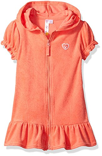 (Pink Platinum Big Girls' Hooded Terry Swim Cover Up, Coral, 10/12)