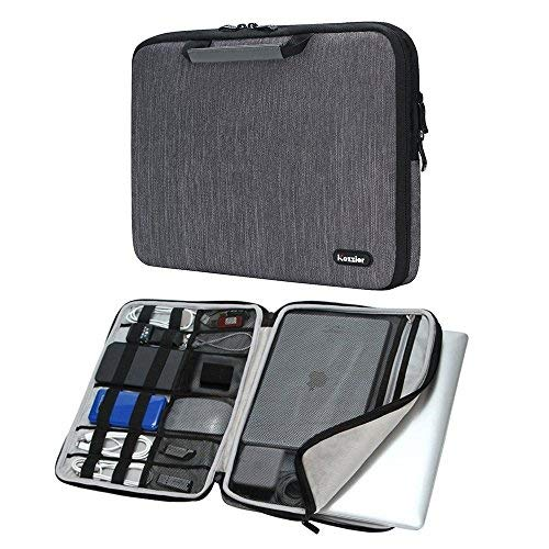 """iCozzier Handle 11-11.6 Inch Laptop and iPad Case/Electronic Accessories Storage Bag 11""""Laptop Sleeve for Ultrabook/Notebook/Netbook/MacBook - Grey from iCozzier"""