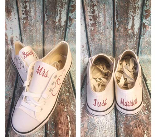 (wedding reception shoes - wedding reception sneakers - white canvas wedding shoes - custom wedding shoes - bride shoes - wedding photography props - bridal shower gift - personalized wedding)