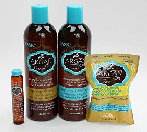 Hask Argan Oil Haircare Set (Repairing Shampoo 12oz & Conditioner 12oz, Repairing Deep Treatment 1.75oz & Repairing Healing Shine Treatment 5/8oz)