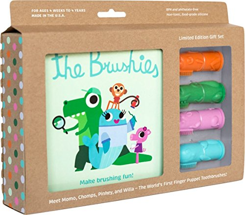 Made in the USA - The Brushies - baby and toddler toothbrush and storybook gift set